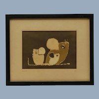 Vintage Original Signed Ila Keller Batik Artwork Mice Family