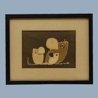 Vintage Original Signed Ila Keller Batik Artwork Mice Family