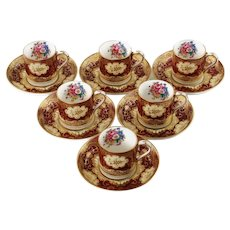 Vintage Crown Staffordshire Fine Bone China Demitasse Cups and Saucers Set of 6 Pattern A13865