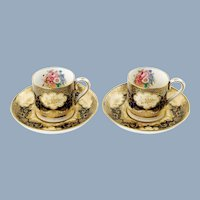 Vintage Crown Staffordshire Gilded Cobalt Blue and White Floral Demitasse Cabinet Cups and Saucers Set of 2 Pattern A 13424
