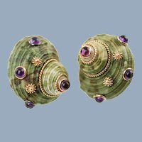 Vintage Maz Green Turbo Shell 14K Earrings with Amethyst Cabochons 14K Gold Beads and Rope Accent