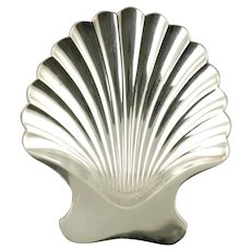 Vintage Tiffany and Co Sterling Silver Footed Scallop Shell Dish