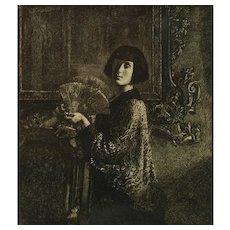 Original Gerald Leslie Brockhurst RA (1890 - 1978) Pencil Signed Japonisme Etching L'Eventail The Fan