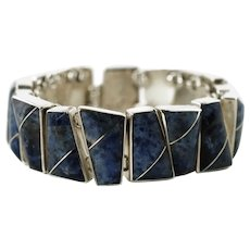 Vintage Mexican 950 Silver Inlaid Sodalite Panel Link Bracelet Mexico 950 TD-111 FDC