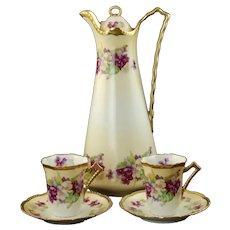 Antique Beyer & Bock Royal Rudolstadt Prussia Crown B Hand Painted Porcelain Chocolate Set
