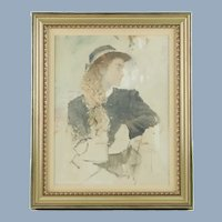 Original Frank McElwain Oil Painting Portrait of a Young Lady Midtones