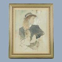"Vintage Original Frank McElwain Oil Painting Portrait of a Young Lady ""Midtones"""