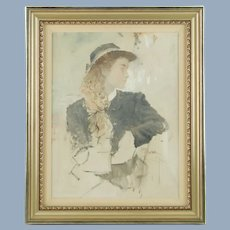 "Vintage Original Frank McElwain Oil Painting Portrait of a Young Lady ""Midtones"""