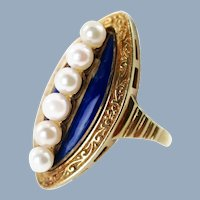 Antique 14K Yellow Gold Pearl and Enamel Marquise Ring
