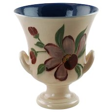 Vintage ET Hurley for Rookwood Pottery Hand Painted Double Handled Vase Campagna Urn Shape 6010 Circa 1943