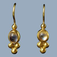 Vintage Hand Made Etruscan Revival 22K Gold Moonstone Drop Earrings by Keith Berge