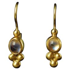 Vintage Hand Made Etruscan Revival 22K Gold Moonstone Drop Earrings with Granulation and French Wire Backs by Keith Berge