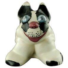Vintage Weller Pottery Black and White Popeye Dog with Blue Eyes French Bulldog