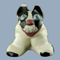 "Vintage Weller Pottery Black and White 4"" Popeye Dog with Blue Eyes French Bulldog"