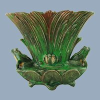 Vintage Weller Art Pottery Coppertone Double Frog Motif Footed Vase with Reeds and Water Lilies