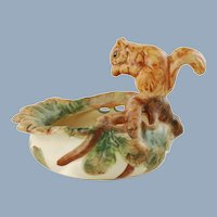 Antique Weller Woodcraft Art Pottery Nut Dish with Figural Squirrel and Oak Leaves