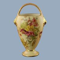 Antique Royal Worcester Blush Ivory Gilded Porcelain Miniature Posy Basket Vase Lion Mask Accents Puce Mark