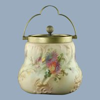 Antique English Taylor Tunnicliff Hand Painted Biscuit Barrel with Shaw & Fisher Etched Silver Plate Lid