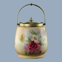 Antique 19th Century Franz Anton Mehlem Royal Bonn Poppy Motif Biscuit Barrel