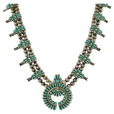 Vintage Native American Zuni Sterling Silver Needlepoint Natural Turquoise Squash Blossom Necklace