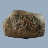 Antique 19th Century Neoclassical Domed Bronze Relief Nereid Sea Nymph Bearing Trident Riding Ichthyocentaur Sea-Centaur with Cherubs