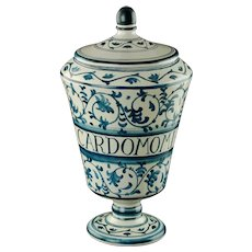 Vintage Dino Rofi S Lucia Siena Italy Blue and White Lidded Majolica Apothecary Jar Canister