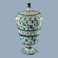 Vintage Dino Rofi S Lucia Siena Italy Blue and White Lidded Majolica Apothecary Jar Canister with Latin Herbal Inscription Cardomomi Semen