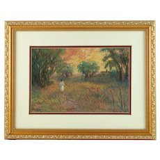 Vintage Joseph Baris Impressionist Pastel on Paper Original Artwork Listed Artist