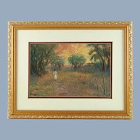Vintage Joseph Baris Impressionist Pastel on Paper Original Artwork Listed Artist