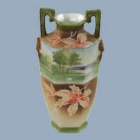 Antique Japanese Morimura Brothers Hand Painted Porcelain Nippon Moriage Cabinet Vase Swan and Leaf Motif