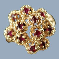 Vintage 14K Yellow Gold Natural Ruby Cluster Cocktail Ring with Textured Split Shank
