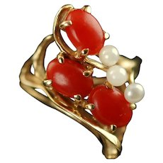Vintage 14K Yellow Gold Coral and Pearl Cocktail Ring