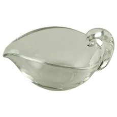 Vintage Lloyd Atkins for Steuben Hand Blown Art Glass Pear-Shaped Sauce Boat Dish