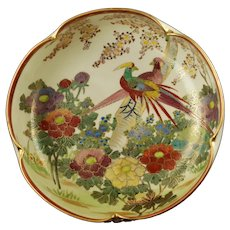 Antique Japanese Satsuma Lobed Bowl Signed Shuzan Meiji Period Birds and Flowers Motif