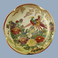 Antique Japanese Satsuma Lobed Bowl Signed Shuzan Meiji Period Birds and Flowers Motif