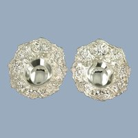 Vintage Stieff Rose Repousse Sterling Silver Bon Bon Raisin Dishes Matched Set