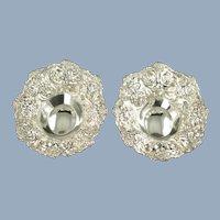 Vintage Stieff Rose Repousse Sterling Silver Bon Bon Raisin Dishes Matched Set No Monogram