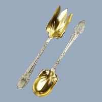 "Large Antique Tiffany and Co Sterling Silver Vermeil 10.25"" Serving Fork and Spoon with Broom Corn Pattern"
