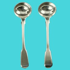 Antique George IV Sterling Silver Fiddle Back Master Salt Spoons Set of 2 Robert Rutland London