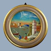 Vintage Round Italian Pietra Dura Landscape in Wood Frame