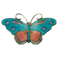 Large Vintage Hroar Prydz Norway Butterfly Enameled Sterling Silver Blue and Pink Brooch Pin Designed by Jens Erik Jensen