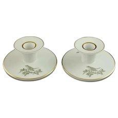 Rare Vintage Royal Copenhagen Gilt Trimmed Porcelain Candle Holders Sparrow and Rose Motif