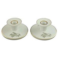 Rare Vintage Royal Copenhagen Gilt Trimmed Porcelain Candle Holders Sparrow and Rose Motif Circa 1958