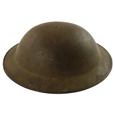 WWI British Mk1 Brodie Helmet with Oilcloth Liner and Leather Chin Strap /A110 Unrestored Condition