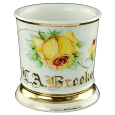 Antique German Personalized Floral Shaving Mug with Hand Painted Yellow Rose Motif