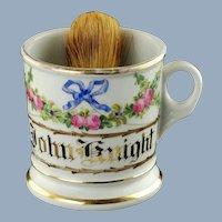 Antique Floral Shaving KPM Porcelain Mug Hand Lettered Gilt Name John Knight with Badger Hair Brush