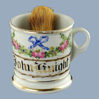 Antique Floral Shaving Mug Rose Garland and Blue Ribbon Bow Gilt Name John Knight KPM Porcelain with Badger Hair Brush