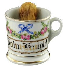 Antique Floral Shaving Mug Rose Garland and Blue Ribbon Bow Gilt Name John Knight KPM Porcelain with Badger Hair Brush