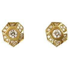 Vintage 18k Gold and Diamond Stud Earrings