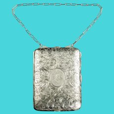 Antique Sterling Silver Minaudiere with Gilt Washed Interior and Sterling Silver Pen/Pencil
